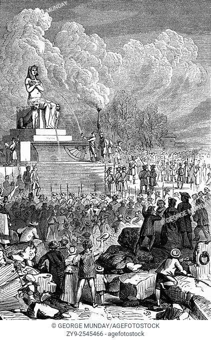 The Feast of Nature in Place de la Bastille, Paris, France. Commemorating the start of the French Revolution on 14 Juyl