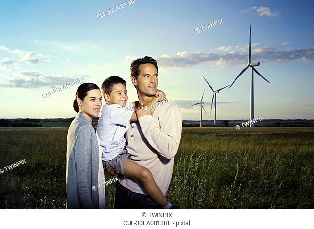 Family on a windfarm