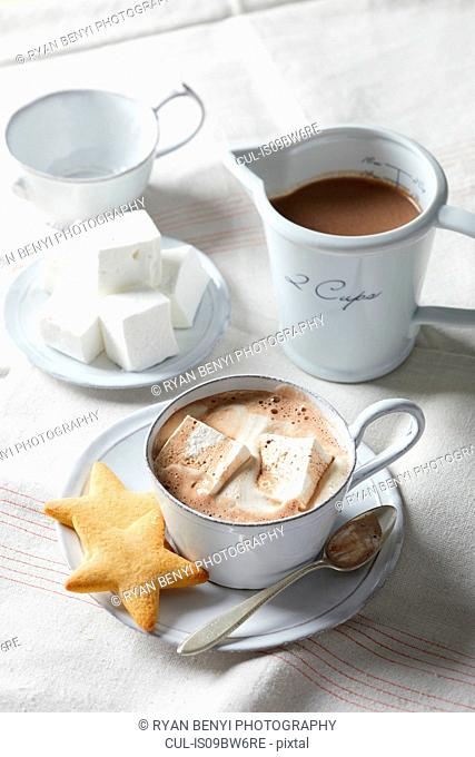 Hot chocolate with homemade marshmallows and star cookies