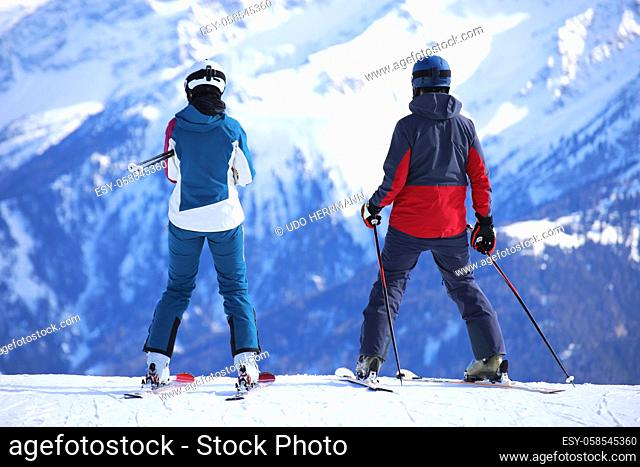 Two skiers enjoy the view
