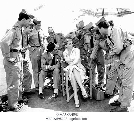 anita ekberg, trevor howard, sul set del film interpol, 24 agosto 1956