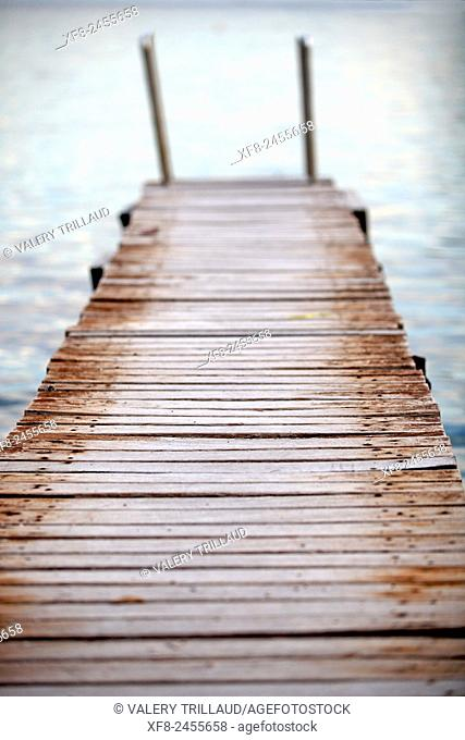 Wooden deck of Cap Ferrat, Alpes-Maritimes, Côte d'Azur, French Riviera, France