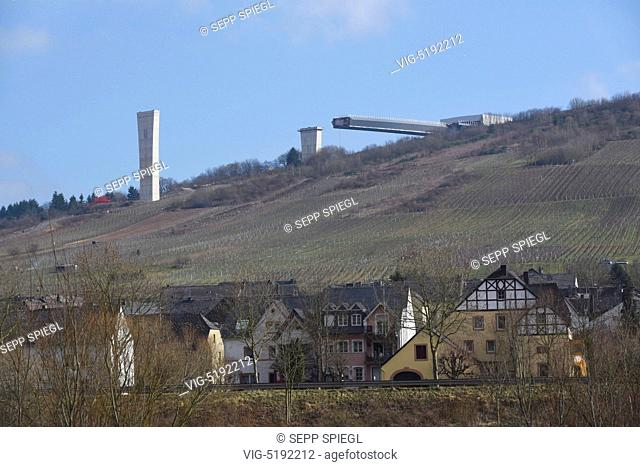 Germany, Zeltingen-Rachtig, 25/02/2015 The high Moselle transition is a 25-kilometer, four-lane new line the main road 50 between the motorway interchange...