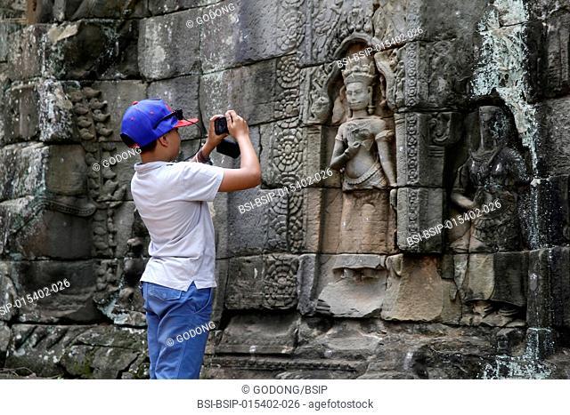 10-year-old boy visiting Angkor. Cambodia