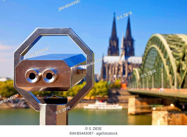 looking on Cologne, spy-glass with Cologne Cathedral and Hohenzollern Bridge , Germany, North Rhine-Westphalia, Cologne