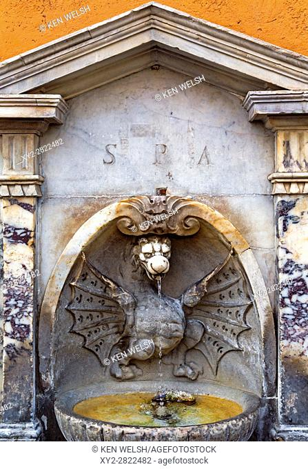 Rome, Italy. Fontana di Borgo Vecchio, often called Fountain of the Dragon, Via della Conciliazione. It dates from the 17th century and is thought to have been...