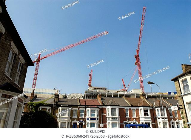 View of Westfield Shopping Centre under construction from Bulwer Street, Shepherds Bush, West London, UK