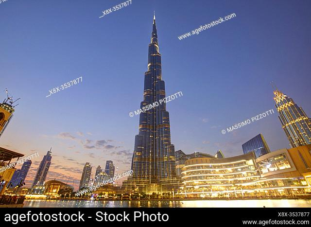 Burj Khalifa led illumination at dusk, Dubai, United Arab Emirates
