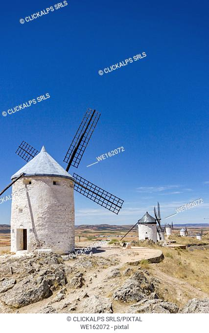 White windmills in Consuegra, La Mancha, Spain