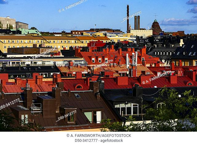 Stockholm, Sweden A view over rooftops known as Siberia in the neighborhood of Vasastan