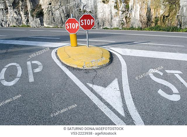 Two stop signs, Italy