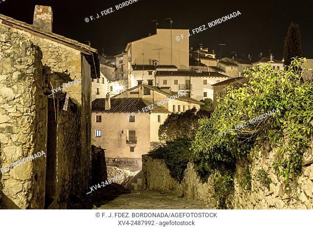 Rubielos de Mora, municipality of Gudar-Javalambre comarca and province of Teruel. Traditional architecture of the village by night, Teruel, Aragon, Spain