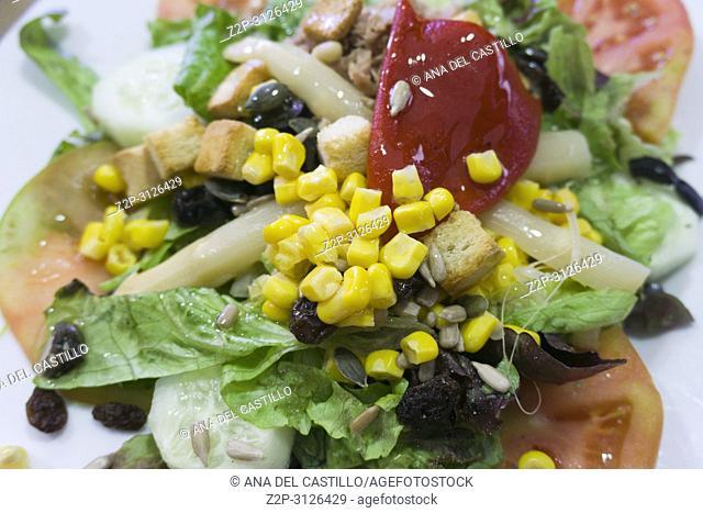 Mediterranean salad on white plate