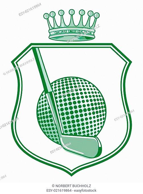 Schild mit Golfball und Krone