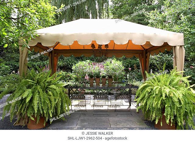 GAZEBOS: Garden, patio, two large boston ferns at entrance to gazebo, rectangular glass table four terra cotta pots chandelier