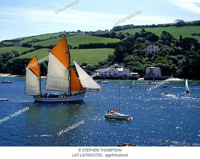 Kingsbridge Estuary,also known as Salcombe Estuary is popular for sailing. It is in an Area of Outstanding Natural Beauty