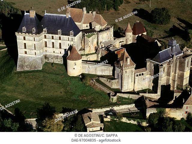 Aerial view of Biron castle, Aquitaine. France, 12th-17th century