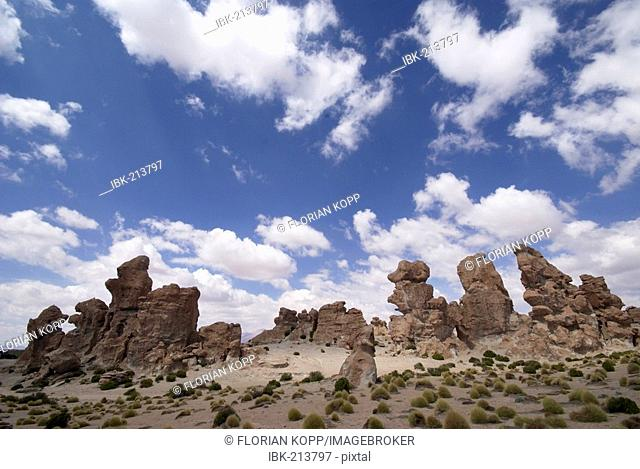 Big rocks with blue and white sky, Uyuni Highlands, Bolivia