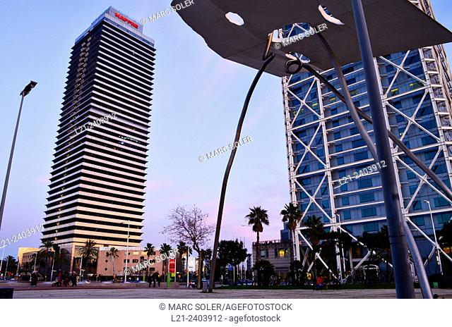 Mapfre tower and Hotel Arts with the David and Goliath sculpture at sunset. Barcelona, Catalonia, Spain
