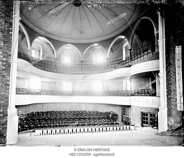 Interior of the Shakespeare Memorial Theatre, Stratford upon Avon, Warwickshire, c1860-c1922; showing the semi-circular auditorium, from the stage