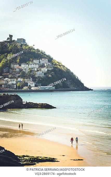 Playa de la Concha San Sebastian Spain Basque Country Beach Sea Sand, Monte Igueldo