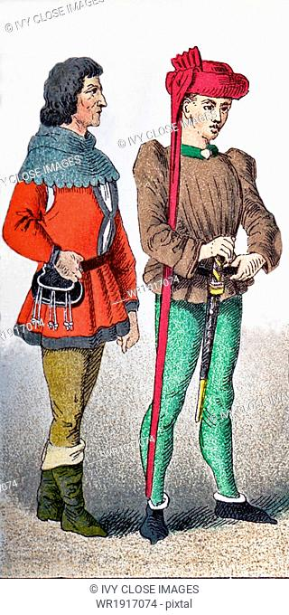 The figures represented here a French citizen and Charles VII around A.D. 1400. Charles VII was known as the Well-Served and the Victorious