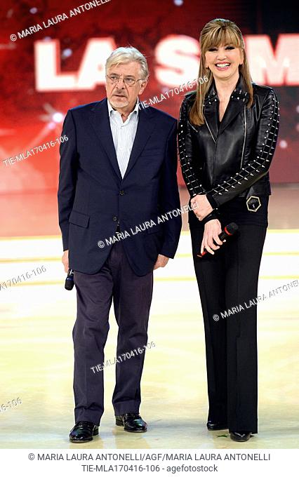 The actor Giancarlo Giannini with the presenter Milly Carlucci, guest at the tv programme Dancing with the stars, Rome, ITALY-18-04-2016