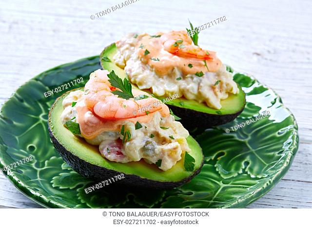 Seafood filled avocado with shrimps tapas pinchos from Spain food recipes