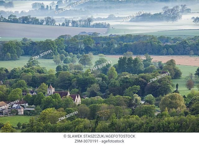 Spring dawn at Firle village in South Downs National Park, East Sussex, England