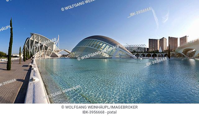 Museo de las Ciencias Principe Felipe, left, 3D cinema L'Hemisfèric, middle, Ciudad de las Artes y las Ciencias, City of Arts and Sciences, Valencia, Spain