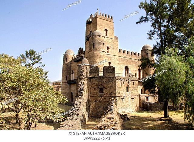 Old palace Gemp with tower and battlement Gondar Ethiopia