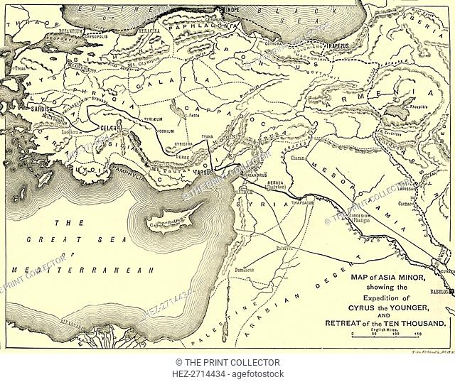 'Map of Asia Minor, Expedition of Cyrus the Younger, and Retreat of the Ten Thousand', 1890. Creator: Unknown