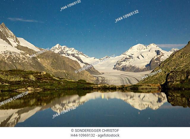 Eggishorn, Tällisee, Aletsch glacier, star sky, mountain, mountains, glacier, ice, moraine, canton, VS, Valais, mountain lake, lake, reflection, night, dark