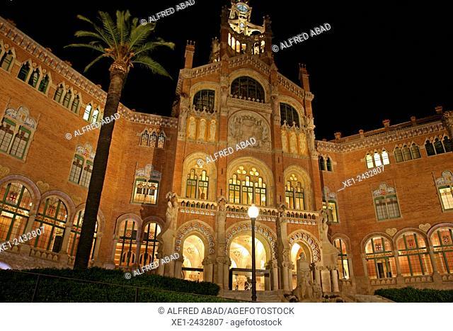 Sant Pau modernist enclosure at night, 1902, arch. Lluis Domenech i Montaner, Barcelona, Catalonia, Spain