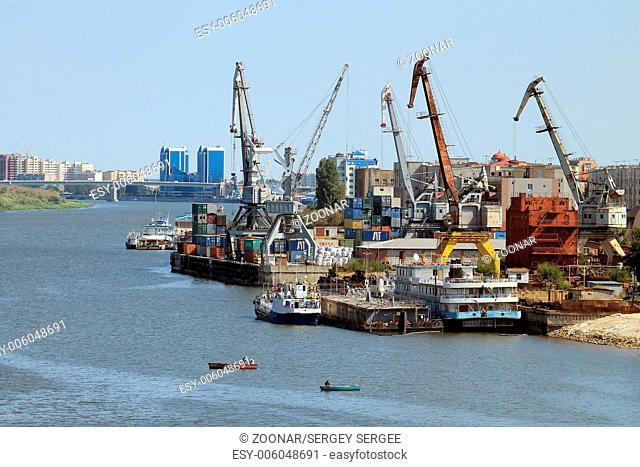 Cargo port in the city of Astrakhan