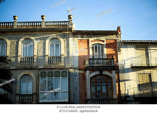 Facades of traditional houses in Cazorla, Jaen, Andalucia, Spain