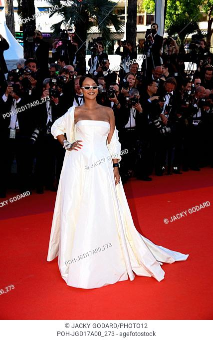 Rihanna, Barbadian singer (dress designed by Dior couture, jewels by Chopard) Arriving on the red carpet for the film 'Okja' 70th Cannes Film Festival May 19