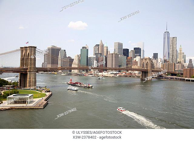 cityscape with Brooklyn bridge and East river, Manhattan, New York, USA, America