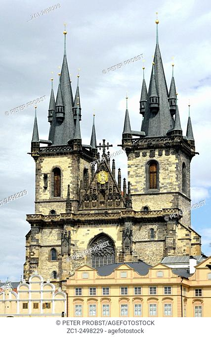 Church of Our Lady before Tyn at the Old Town Square of Prague in Chzech Republic