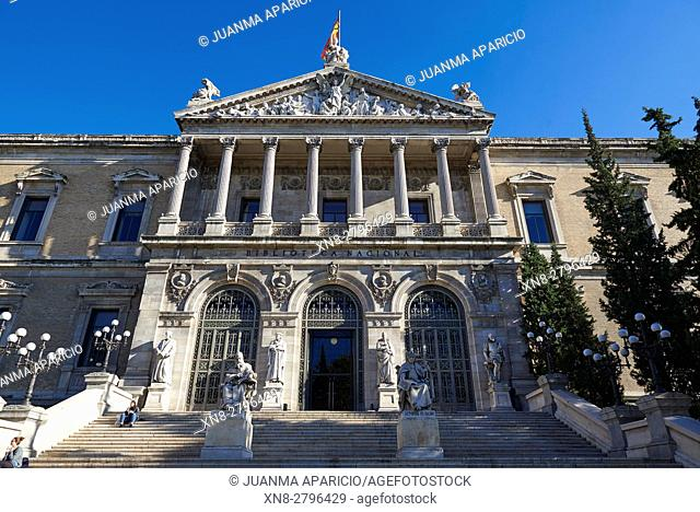 National Library of Madrid, Paseo de Recoletos, Spain. Europe, architecture and art