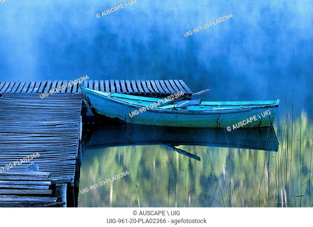Blue rowboat and wooden jetty in early morning mist. Tinquilco Lake, Chile . (Photo by: Auscape/UIG)