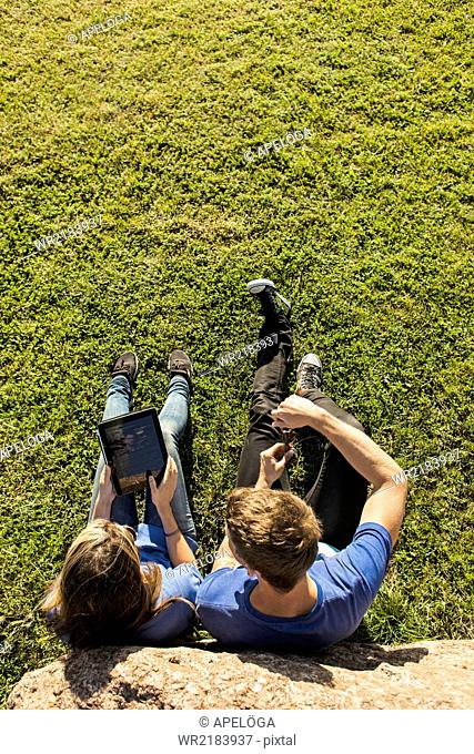 High angle view of couple using tablet computer on grassy landscape