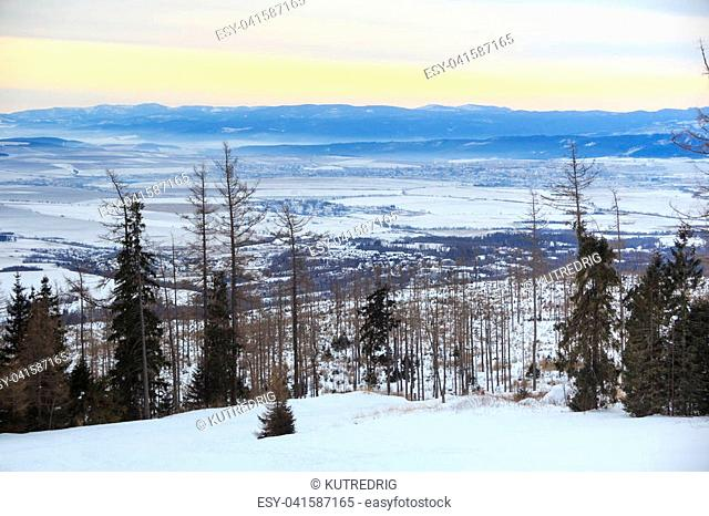 View of a blue plateau from a ski and hiking Hrebienok resort (altitude 1285 m.) located in the High Tatras mountains National park. Slovakia