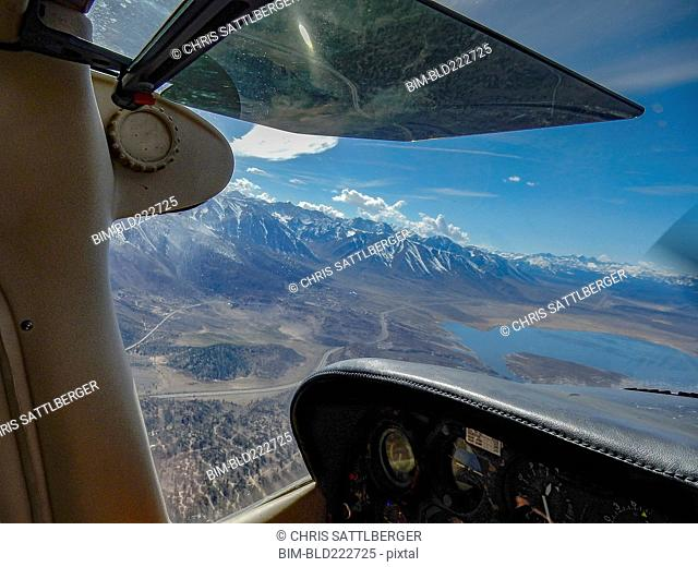 View of lake and mountains from cockpit, Bishop, California, United States