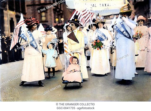 WOMEN'S SUFFRAGE, 1912.An American women's suffrage parade, 1912