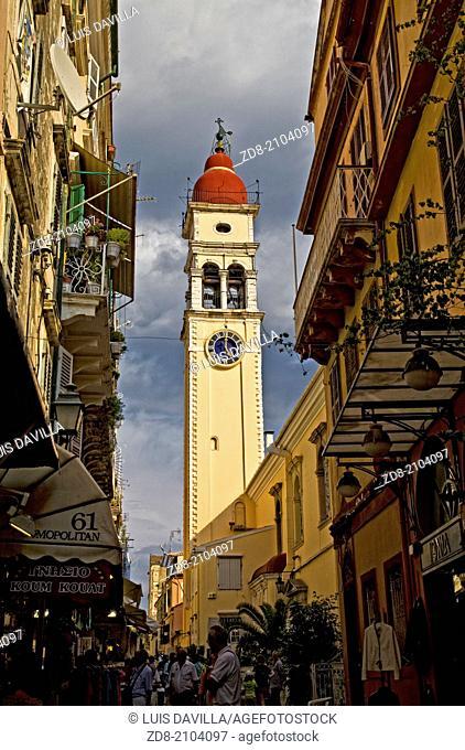 Main Street and Clock Tower Corfu Greece