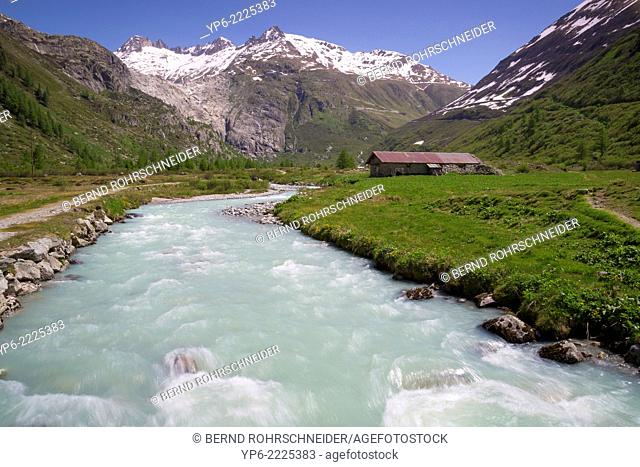 mountain landscape with river Rhone at Grimsel Pass, Bernese Oberland, Switzerland