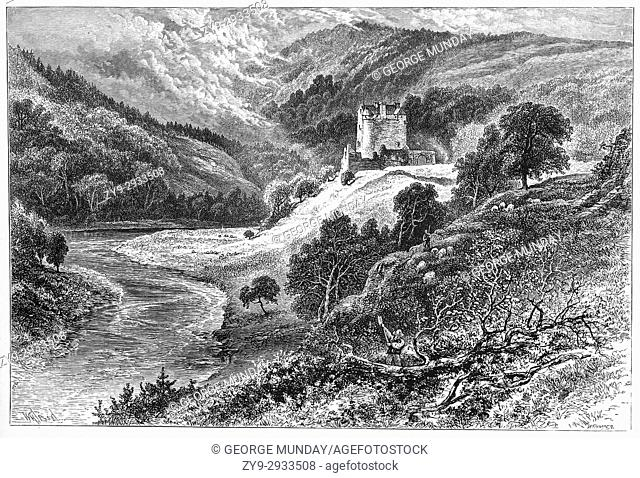 1870: Woodsman, Farmer and sheep in a landscape featuring Neidpath Castle, a tower house, built by Sir William de Haya in the late 14th century