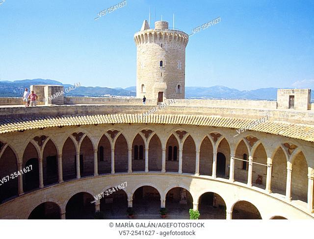 Courtyard and keep. Bellver castle, Palma de Mallorca, Spain