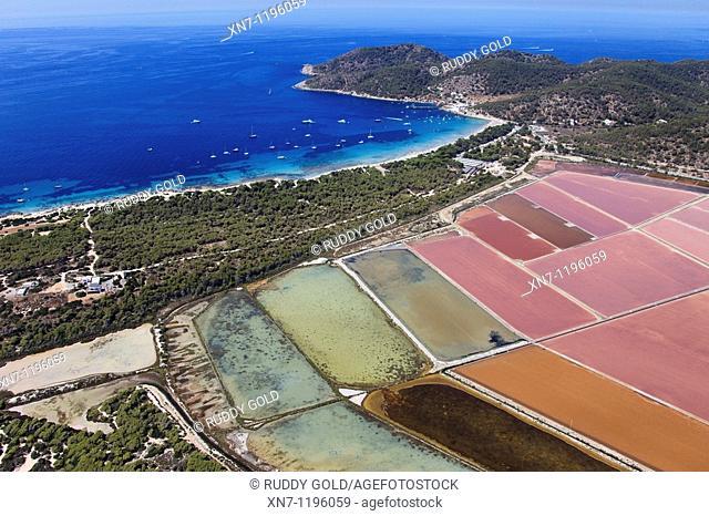 Ses Salines, Mitjorn beach, Falco cape on the top right, Ibiza, Balearic Islands, Spain